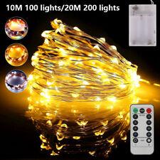 100/200LED Lichterkette Drahtlichterkette mit Fernbedienung Timer Batterie Licht