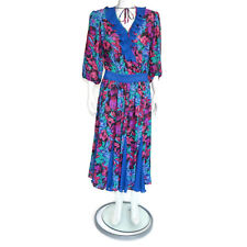 Vtg Assorti Susan Freis Boho Peasant Gypsy Dress Pink Purple Blue Pleated sz M/L