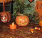Prim Antique Vtg Style LED Halloween Paper Mache Jack O Lantern Mini Pumpkin