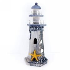 """Starfish Wooden Lighthouse Nautical Themed Rooms Lighthouse Home Decor 10""""H"""