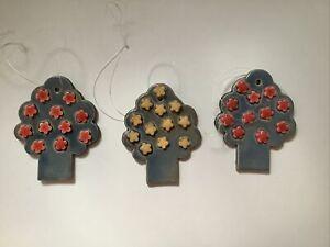 3 Bäume, Keramik Getöpfert Handarbeit Frühling Hänger