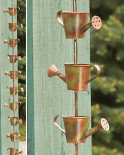 Watering Can Rain Chain Copper Plated Metal Garden Art 96""