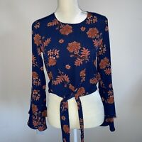 Self E Womens Orange And Blue Floral Cropped Top Juniors Size XS