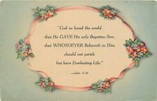 DB Religious Postcard E253 John 3:16 God So Loved the World that He Gave His