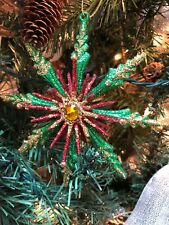 "New Kurt Adler 5"" Green & Red With Gold Glitter Christmas Snowflake Ornament!"