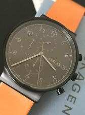 Skagen Original SKW6359 Mens Ancher Black Dial Tan Leather Chronograph Watch NWT