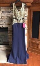 NWT $369 JVN by Jovani Beaded V-Neck Long Dress Wedding Prom Formal Navy SZ 2