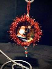 Handmade Ooak Unique Santa Harp Double Sided Christmas Ornament