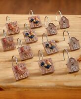 Set of 12 Shower Curtain Hooks Farm Rooster Country Farmhouse Bathroom Decor