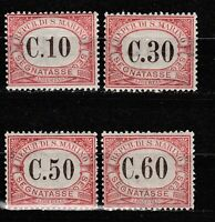 s37565 SAN MARINO MNH** 1924 Segnatasse c. 10+30+50+60 4v  Sassone 11/14