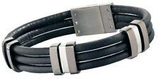 Police Men's Black Leather Bracelet Stainless Steel Buckle 24726BLU/01-L