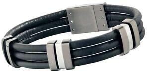 Police TAMPA Men's Black Leather Bracelet Stainless Steel Buckle 24726BLU/01-L