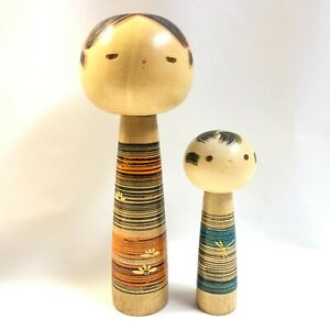 Wow ! 2 SANPEI Kokeshi Dolls !! 20.6&13.1cm 1980 No.SP1023 Strongly recommend !!