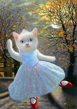 White kitten cat ballerina ballet red shoes moon autumn OE ACEO print art