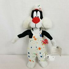"""Looney Tunes Sylvester the Cat In Painter Overalls & Hat Plush 16"""" 1998"""