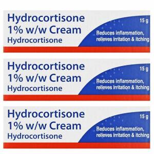 3 x 15g - Hydrocortisone Cream 1% - Swelling Itching Irritated - Brand May Vary
