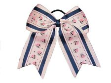 "NEW ""PINK SAILBOATS"" Cheer Bow Pony Tail Ribbon Girls Hair Cheerleading Dance"