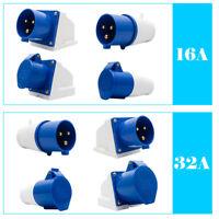 240V 16A/32A 3Pin Blue Industrial Plug & Sockets IP44 Camping Caravan Industrial