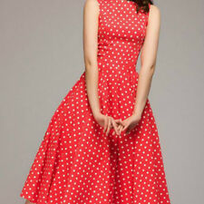 Ladies Polka Dot Dress Sleeveless Swing Skater Skirt Red Casual Dress Beach Chic