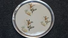 Vintage Pewter & Porcelain  Round Pheasants Serving Tray 11 inches