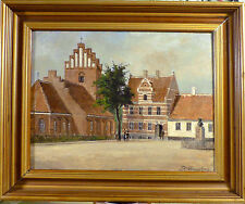 FRANDS FRANDSEN! CITY SCENE WOTH CHURCH AT THE SQUARE WITH FIGURES. NO RESERVE