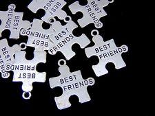 10 Pcs - Tibetan Silver Jigsaw Puzzle Best Friend Charms Pendants Jewellery K102