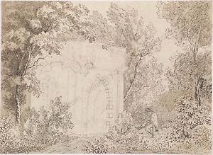 "Franz Kobell (1749-1822)-Attrib. ""Artist in Plein Air"", Drawing, Late 18th C."