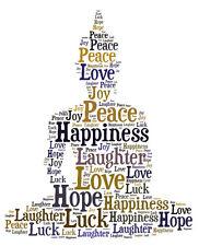 Personalised Buddha Word Art Print Great Gift, Birthday Mum Nan Dad Sister