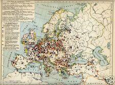 1902= DISLOCAZIONI MILITARI IN EUROPA = Antica Mappa Storica