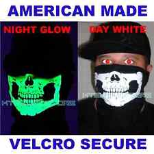 VELCRO®Brand close USA MADE GLOW IN THE DARK SKULL COTTON FACE WIND ski MASK lg