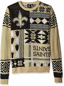 NEW NFL New Orleans Saints Patches Ugly Sweater, Black, X-Large