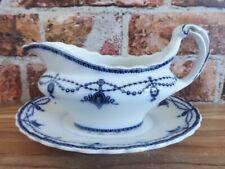 More details for flow blue gravy sauce boat burslem keeling losol ware ludgate