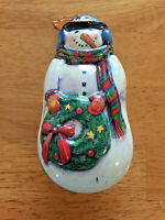 """1995 Vintage Snowman See's Candies Christmas/Holiday Ornament Tin 4 1/2"""""""