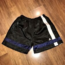 Vtg 80s 90s ATHLETIC WORKS Black MENS SMALL Shiny glanz wet look Soccer Shorts S