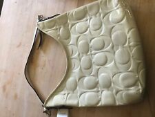 Coach hobo bag white patent leather new with tags, some marks on one side.