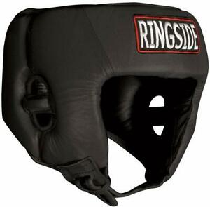 Ringside Competition Boxing Headgear Without Cheeks, Black, Large - APPROVED