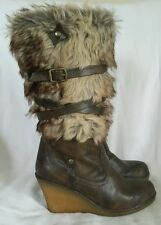 New Look Your Feet Look Gorgeous Brown Furry Wedge Boots Size 4 EU 37