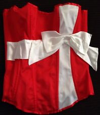 Leg Avenue Red Satin Corset Bustier Small White Bow Hook And Eye