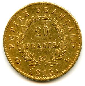 Les Cent-Jours Napoléon Ier 20 Francs Or Tête laurée 1815 L Bayonne