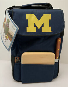 Michigan Wolverines Duet Wine and Cheese Picnic Tote Official Licensed New