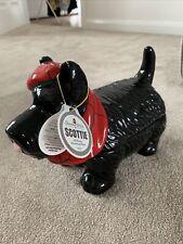 More details for black scottie dog tartan beret & scarf biscuit sweet cookie jar - grandma wild's
