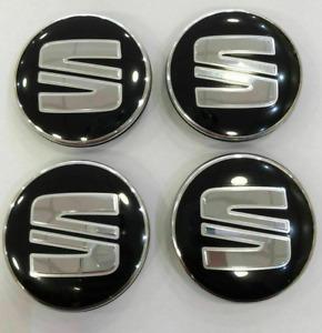 4x56mm For Seat Black Wheel Center Caps Hubcaps Rim Caps Badges Ibiza Leon