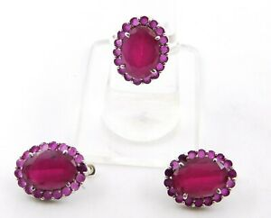 11.90 Gm Ruby Ring & Earring Set 925 Solid Sterling Silver 8.25'' J-585