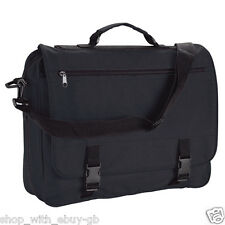 Messenger Bag - Black Adjustable Shoulder Satchel for Office Work College School