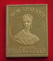 Modern Gold plated on Sterling Silver Stamp Ingot New Zealand QV 1d NZ 11.8g