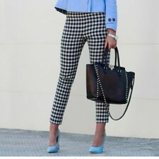 ZARA CHECKERED GEOMETRIC PRINT CROP PANTS OLIVIA PALERMO BLOGGERS SIZE  XS