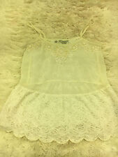 Guess White Tank Cami Crochet Inset Embellished Beaded Lace Babydoll XS
