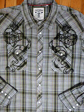 ** GUESS JEANS ** Green Plaid Decorated Snap Button Vintage Western Shirt XL