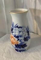 "Fukagawa Vase Handpainted Porcelain Cobalt Blue W/Peony Gold 8 3/4"" W/Orig Label"
