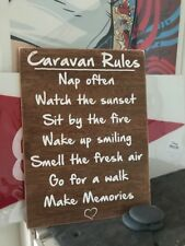 Caravan Campervan Rules Travel Holiday Novelty Gift Wooden Hanging Plaque Sign W